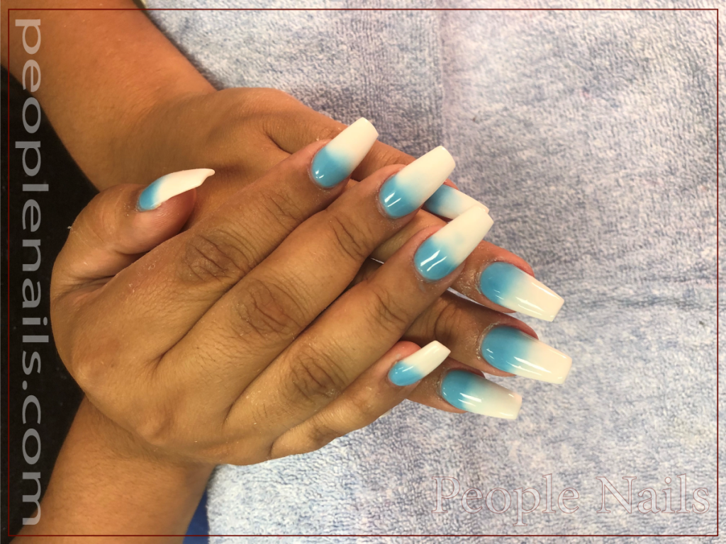 People Nails - Glow Blue Ombre Nails